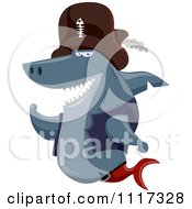 Cartoon Of A Pirate Shark Grinning Royalty Free Vector Clipart