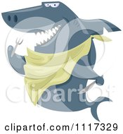 Cartoon Of A Hungry Shark With A Bib And Silverware Royalty Free Vector Clipart
