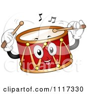 Cartoon Of A Musical Drum Smiling And Playing A Tune Royalty Free Vector Clipart
