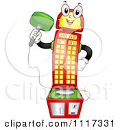 Cartoon Of A Happy Carnival High Spiker Machine Holding A Hammer Royalty Free Vector Clipart by BNP Design Studio
