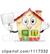 Cartoon Of A Happy House Mascot Waving And Holding A Sign Royalty Free Vector Clipart