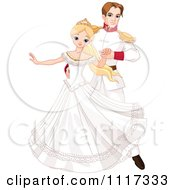 Cartoon Of A Beautiful Fairy Tale Princess Dancing With A Prince At A Ball Royalty Free Vector Clipart
