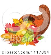 Autumn Harvest Cornucopia With Wheat Fruits And Vegetables