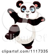 Cartoon Of A Cute Panda Dancing Royalty Free Vector Clipart by Pushkin