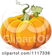 Cartoon Of A Twirling Vine On An Autumn Pumpkin Royalty Free Vector Clipart