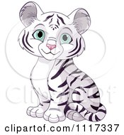 Cartoon Of A Cute White Tiger Cub Sitting Royalty Free Vector Clipart