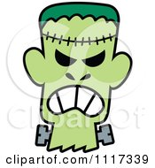 Cartoon Of A Halloween Frankenstein With An Angry Expression Royalty Free Vector Clipart by Zooco