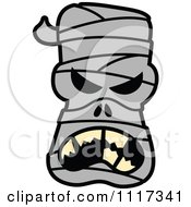Cartoon Of A Halloween Mummy With An Angry Expression Royalty Free Vector Clipart