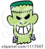 Cartoon Of A Halloween Frankenstein With A Naughty Grin Royalty Free Vector Clipart by Zooco