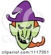 Cartoon Of A Halloween Witch With A Naughty Grin Royalty Free Vector Clipart