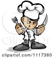 Cartoon Of A Tough Male Chef Guy Holding A Knife And Fork Royalty Free Vector Clipart Of A