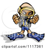 Cartoon Of A Tough Scuba Guy Holding Up His Fists Royalty Free Vector Clipart Of A