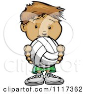 Cartoon Of A Cute Sporty Boy Holding A Volleyball Royalty Free Vector Clipart Of A