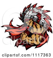 Vector Clipart Of A Masculine Strong Chief Flexing His Bicep Royalty Free Graphic Illustration