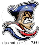 Vector Clipart Of A Aggressive Patriot Mascot In Profile Royalty Free Graphic Illustration
