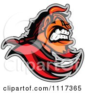 Vector Clipart Of A Aggressive Devil Mascot In Profile Royalty Free Graphic Illustration