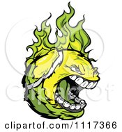 Cartoon Of A Screaming Tennis Ball Flaming With Green Fire Royalty Free Vector Clipart Of A by Chromaco