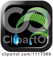 Clipart Of A Fern And Droplet Black Icon Royalty Free Vector Illustration