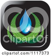 Clipart Of A Fern And Water Droplet Icon Royalty Free Vector Illustration
