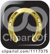 Clipart Of A Gold Horseshoe Icon Royalty Free Vector Illustration