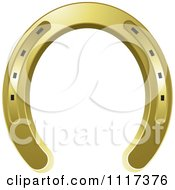 Clipart Of A Gold Horseshoe Royalty Free Vector Illustration