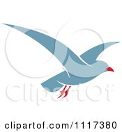 Clipart Of A Flying Blue Seagull Royalty Free Vector Illustration