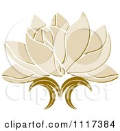 Clipart Of A Beige Lotus Flower Royalty Free Vector Illustration