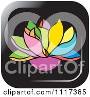 Clipart Of A Colorful Lotus Flower Icon Royalty Free Vector Illustration
