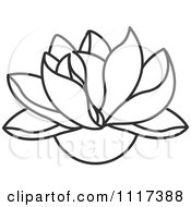 Clipart Of A Black And White Lotus Flower Royalty Free Vector Illustration
