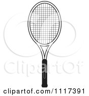 Clipart Of A Black And White Tennis Racket Royalty Free Vector Illustration