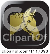 Clipart Of A Gold Horse Head With Reins Icon Royalty Free Vector Illustration