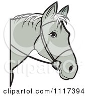 Clipart Of A Gray Horse Head With Reins Royalty Free Vector Illustration
