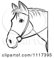 Clipart Of A Black And White Horse Head With Reins 1 Royalty Free Vector Illustration