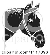 Clipart Of A Black And White Horse Head With Reins 2 Royalty Free Vector Illustration