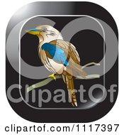 Clipart Of A Black Perched Kookaburra Bird Icon Royalty Free Vector Illustration