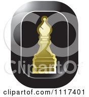 Clipart Of A Gold Bishop Chess Piece Icon Royalty Free Vector Illustration by Lal Perera