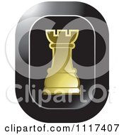 Clipart Of A Gold Rook Chess Piece Icon Royalty Free Vector Illustration by Lal Perera