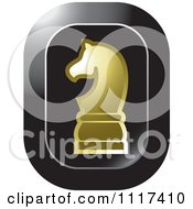 Clipart Of A Gold Knight Chess Piece Icon Royalty Free Vector Illustration by Lal Perera