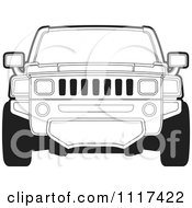 Clipart Of A Frontal View Of A Black And White Hummer SUV Royalty Free Vector Illustration by Lal Perera