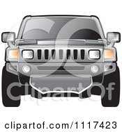 Clipart Of A Frontal View Of A Gray Hummer SUV Royalty Free Vector Illustration by Lal Perera