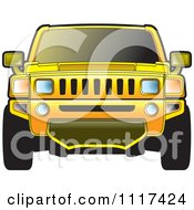 Clipart Of A Frontal View Of A Yellow Hummer SUV Royalty Free Vector Illustration by Lal Perera