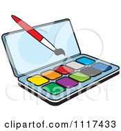 Clipart Of A Watercolor Paint Kit And Brush Royalty Free Vector Illustration