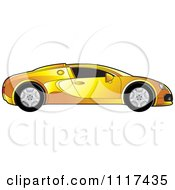 Clipart Of A Yellow Sports Car In Profile Royalty Free Vector Illustration by Lal Perera