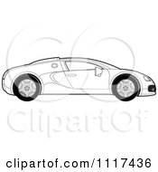 Clipart Of A Black And White Sports Car In Profile Royalty Free Vector Illustration