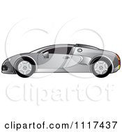 Clipart Of A Silver Sports Car In Profile Royalty Free Vector Illustration