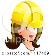 Clipart Of A Brunette Contractor Woman With A Hard Hat Royalty Free Vector Illustration by Lal Perera