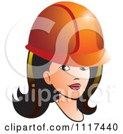 Clipart Of A Brunette Contractor Woman With An Orange Hard Hat Royalty Free Vector Illustration by Lal Perera