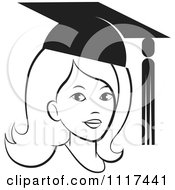 Clipart Of A Black And White Female Graduate Wearing A Cap Royalty Free Vector Illustration by Lal Perera