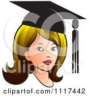 Clipart Of A Brunette Female Graduate Wearing A Cap Royalty Free Vector Illustration by Lal Perera