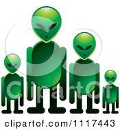 Clipart Of A Green Extraterrestrial Alien Family Royalty Free Vector Illustration by Lal Perera